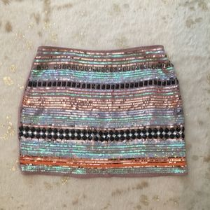 Sequined and Jeweled Mini Skirt
